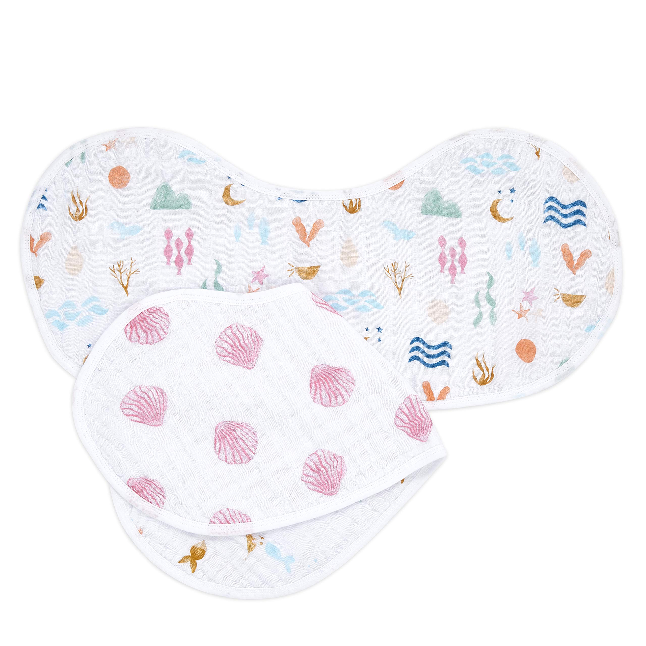 aden + anais Burpy Baby Bib, 100% Cotton Muslin, 4 Layer Multi Use Burping Cloth, Super Soft & Absorbent Burp Rag for Infants, Newborns and Toddlers, 2 Pack, Salty Kisses