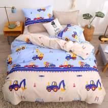 LAMEJOR Duvet Cover Set Queen Size Cartoon Truck Pattern Luxury Super Soft Bedding Set Comforter Cover(1 Duvet Cover+2 Pillowcases) Blue/Beige