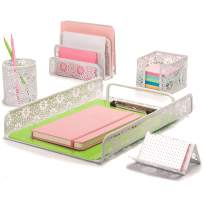 Hudstill White Desk Organizer Set for Women in Sunflower Design with 5 Office Supplies Accessories : File Tray, Mail Organizer, Pen Cup, Sticky Notes Holder and Business Card Holder