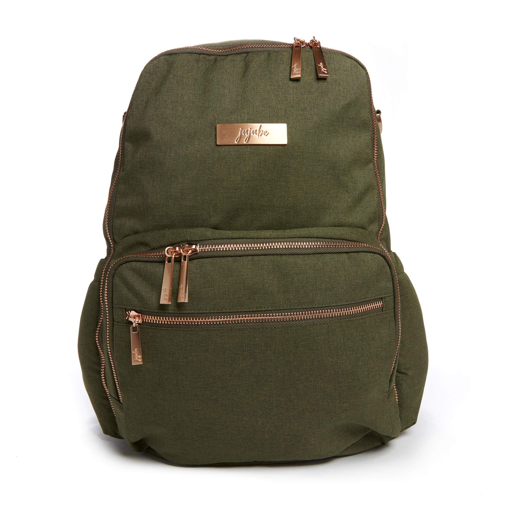 JuJuBe Zealous Backpack | Olives | Chromatics | Lightweight, Travel-Friendly, Stylish Diaper Bag, Multi Functional Backpack Purse for Kids and Adults, Casual Daypack | Changing Pad Included
