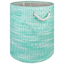 """DII Woven Paper Basket or Bin, Collapsible & Convenient Home Organization Solution for Bedroom, Bathroom, Dorm or Laundry(Large Round - 15x20""""), Aqua Tweed"""