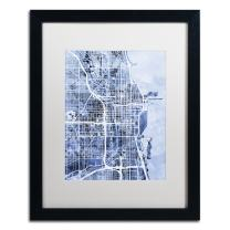 Chicago City Street Map B&W by Michael Tompsett, White Matte, Black Frame 16x20-Inch