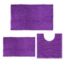 Chenille Bathroom Rugs and mats Set of 3 Piece Bath Mats, Extra Soft and Absorbent Shaggy Rugs, Bathroom Rugs and mats Set, Machine Washable Bath mat Set for Tub, Shower, and Bath Room, Dark Purple