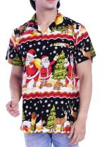 Virgin Crafts Christmas Hawaiian Shirts for Men Couple Santa Claus Front Pocket