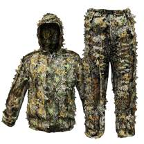 Upgrade Ghillie Suit Outdoor 3D Lifelike Super Lightweight Hooded Camouflage Clothing Jungle Woodland Hunting Shooting