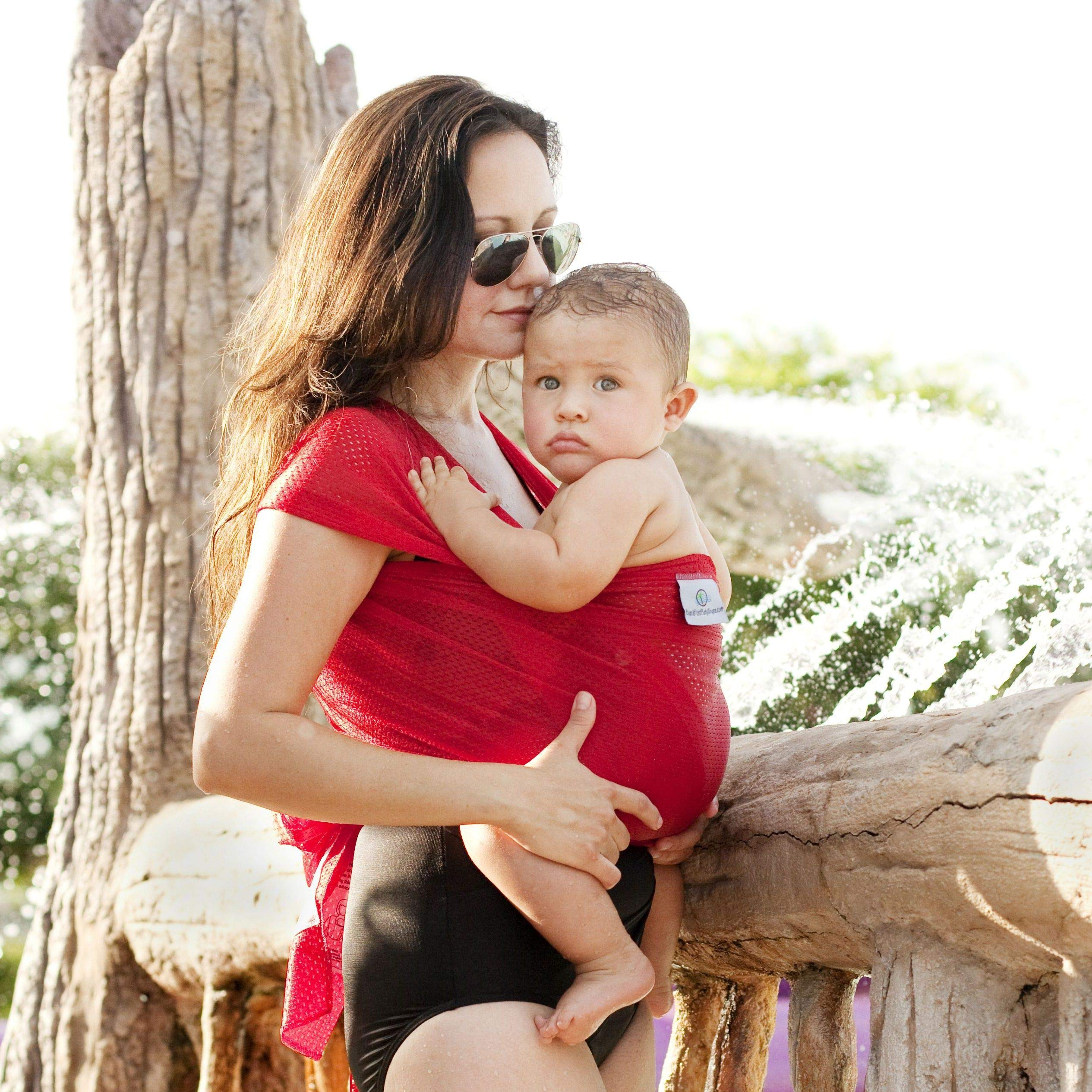 Beachfront Baby Wrap - Versatile Water & Warm Weather Baby Carrier | Made in USA with Safety Tested Fabric, CPSIA & ASTM Compliant | Lightweight, Quick Dry (Tropical Punch, One Size)