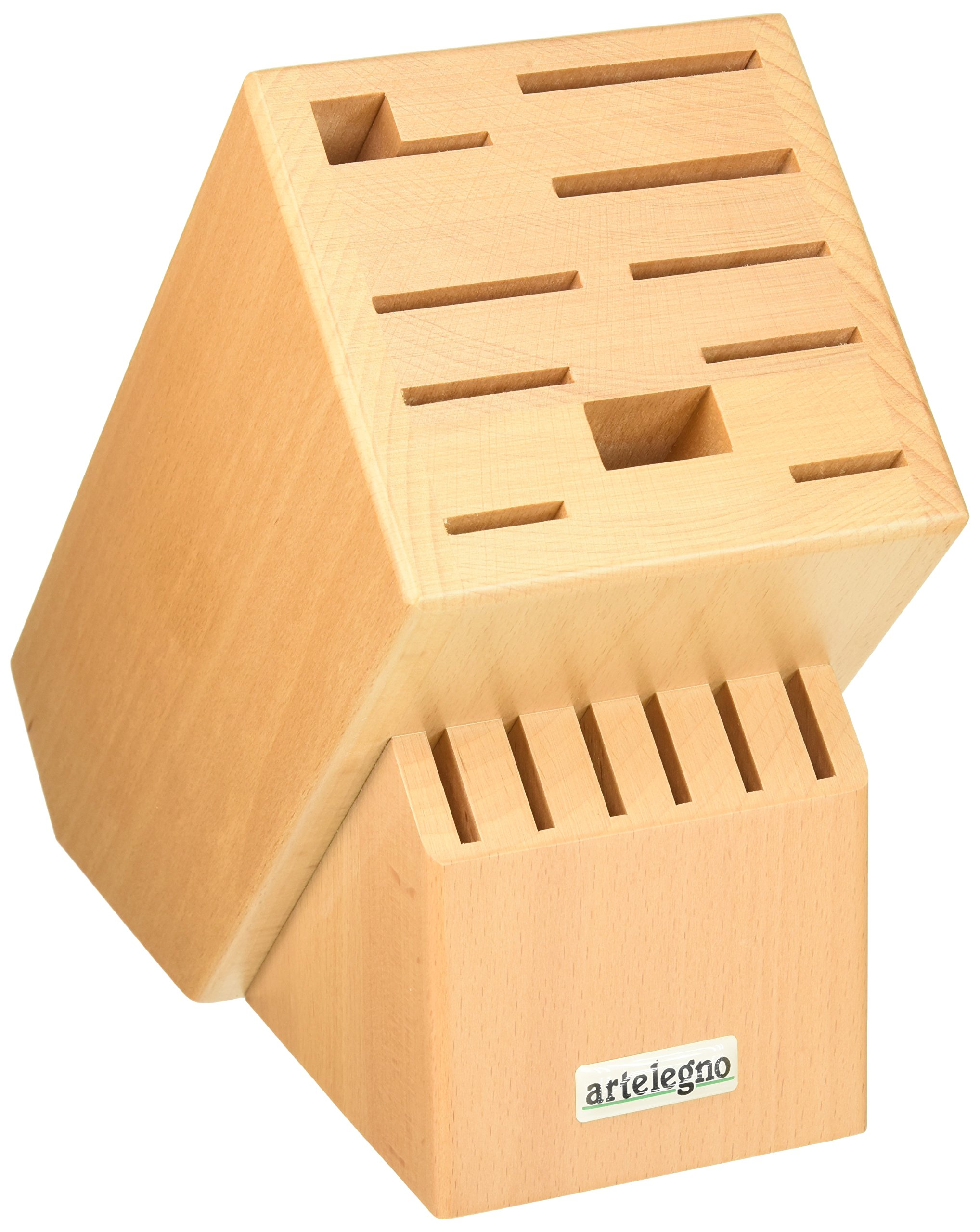 """Artelegno Knife Block Solid Beech Wood 16 Slot Classic, Luxurious Italian Collection by Master Craftsmen Displays High-End Knives Elegantly, Eco-friendly for Blades up to 10.2"""" - Natural Finish"""
