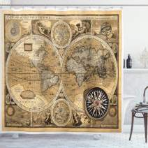 "Ambesonne Wanderlust Shower Curtain, Old Map 1626 a New and Accvrat Map of World Historical Manuscript, Cloth Fabric Bathroom Decor Set with Hooks, 75"" Long, Pale Yelllow"