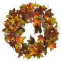 "Nearly Natural 24"" Maple and Pine Cone Wreath, Multi/Color"