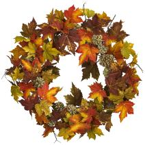 """Nearly Natural 24"""" Maple and Pine Cone Wreath, Multi/Color"""