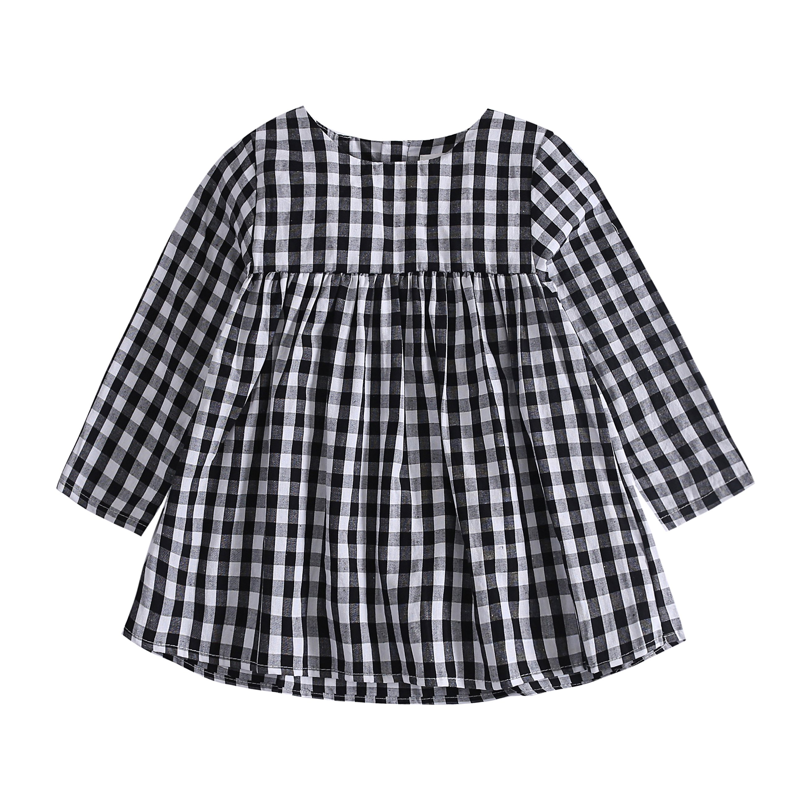 Baywell Baby Girl Plaid Dress, Toddler Girl's Typical Black and White Plaid Long Sleeve Tops Shirt Spring Fall Dresses