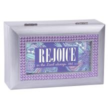 Cottage Garden Rejoice in The Lord Always Brushed Silvertone Jewelry Music Box Plays Amazing Grace