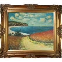 """overstockArt Meadow Road to Pourville, 1882 with Victorian Gold Framed Oil Painting, 32"""" x 28"""", Multi-Color"""