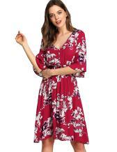 Milumia Women's Boho Button Up High Waist Floral Print Flowy Party Dress
