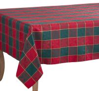 "SARO LIFESTYLE 4837.RG65160B Royal de Noel Collection Plaid Design Tablecloth, 65"" x 160"", Red/Green"