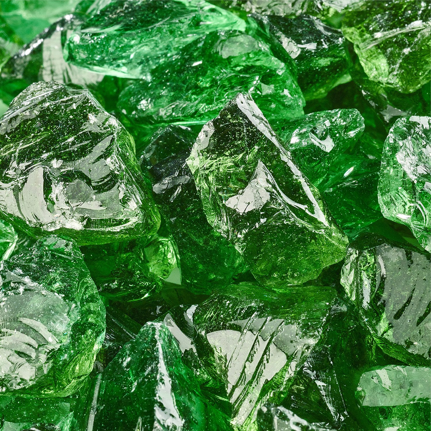 Emerald Green - Crushed Fire Glass for Indoor and Outdoor Fire Pits or Fireplaces | 10 Pounds | 1/2 Inch - 3/4 Inch