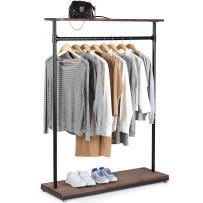 MyGift 60-Inch Rustic Industrial Wood & Pipe Design Freestanding Coat Rack, Bedroom Garment Display Stand