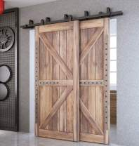 DIYHD 8ft Top Mounted Sliding Barn Wood Door Track Kit for Low Ceiling, Bypass Hardware