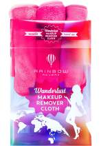 RAINBOW ROVERS Set of 3 Makeup Remover Cloths | Reusable & Ultra-fine Makeup Towels | Suitable for All Skin Types | Removes Makeup with Water | Free Bonus Waterproof Travel Bag | Hot Pink