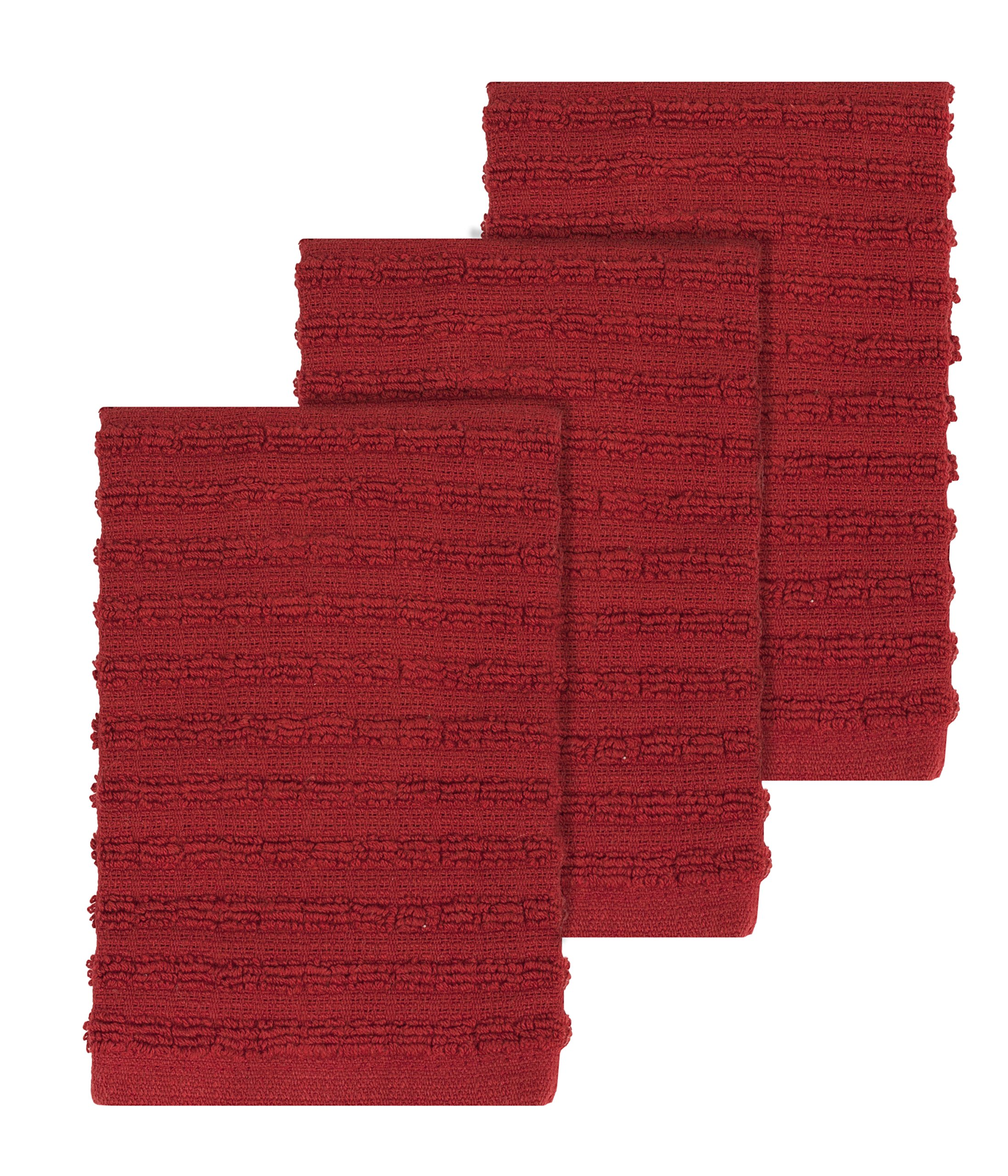 """Ritz Royale Collection 100% Combed Terry Cotton, Highly Absorbent, Kitchen Dish Cloth Set, 13-3/4"""" x 12"""", 3-Pack, Solid Paprika Red"""