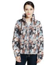 Rokka&Rolla Women's Ultra Lightweight Quick Dry Water Resistant Casual Drawstring Hideaway Hooded Windbreaker Jacket
