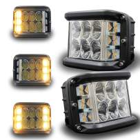 HOYUZA Side Shooter Pod Lights 4 Inch Dual Side Yellow Strobe Cree Pods for Farm Tractor Plow Truck ATV UTV 4x4