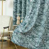Anjee Printed Curtains Drapes for Dining Room/Living Room, Nordic Style Green Leaf Topic, 1 Pair, 52 x 84 Inch Length