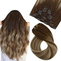 Easyouth Clip in Hair Extensions Real Human Hair Color Chocolate Brown Fading to Honey Blonde Mix Brown Clip in Extensions Double Weft 12Inch 70g 7Pieces Clip in Straight Hair Extensions