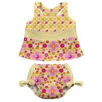 i play. Girls Two-piece Bow Tankini with Snap Reusable Swimsuit Diaper | The original, patented triple-layer absorbent swim diaper |  Comfort seams, UPF 50+ protection, No other diaper necessary