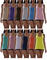 Sexy Basics Women's 12 Pack Racer Back Tank Tops/Cotton -Spandex Stretch Color Tanks