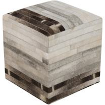 Surya 100-Percent Hair on Hide Pouf, 18-Inch by 18-Inch by 18-Inch, Ivory/Light Gray/Mocha