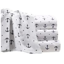 Anchor Sheet Set with Deep Fitting Pockets, White with Navy Blue Anchors and Polka Dots, 4 Piece Sheet and Pillowcase Set - King, Anchors