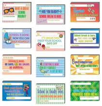 Creanoso School Break Appreciation Postcards (60-Pack) – Assorted Card Stock Bulk Set – Premium Quality Appreciation Greeting Cards Stock – Cool Gift Tokens for Teachers to Students – Note Card