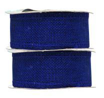 Royal Blue Burlap Ribbon 1.5 Inch 2 Rolls 20 Yards Unwired Rustic Jute Ribbon for Crafts, Mason Jars, Weddings, Party Decoration; by Mandala Crafts