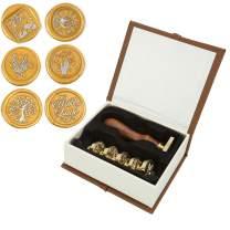 Wax Seal Stamp Set, Mornajina Botanical and Moon Series Sealing Stamp, 6PCS Vintage Brass Stamp Heads + 1Pcs Wooden Handle Kit for Wedding Invitation