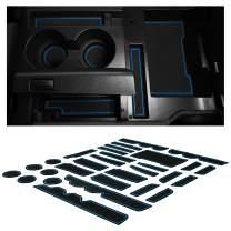 CupHolderHero for Toyota Tundra Accessories 2014-2021 Premium Custom Interior Non-Slip Anti Dust Cup Holder Inserts, Center Console Liner Mats, Door Pocket Liners 32-pc Set (Bench Seat) (Blue Trim)
