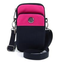 """U-TIMES Casual Water Resistant Oxford Waist Wallet Bag 6"""" Crossbody Shoulder Phone Pouch(Rose Red)"""