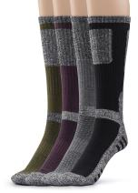 Silky Toes 4 Pairs Mens Cushioned Hiking Crew Socks, Outdoor Running Athletic