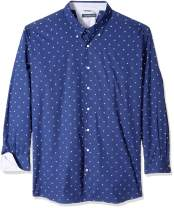 Nautica Men's Big and Tall Long Sleeve Wrinkle Resistant 100% Cotton Button Down Shirt