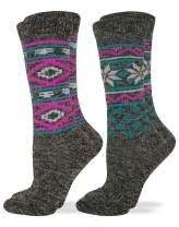 Wise Blend Women's Wool Blend Fashion Pattern Knit Crew Socks 2 Pair Pack