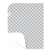Kushies Deluxe Waterproof Changing Pad Liners - 20 x 30 inches Baby Changing Table Pad Covers - Baby Changing Pads in Grey Lattice - Diaper Changing Pad Cover Waterproof for Changing Station