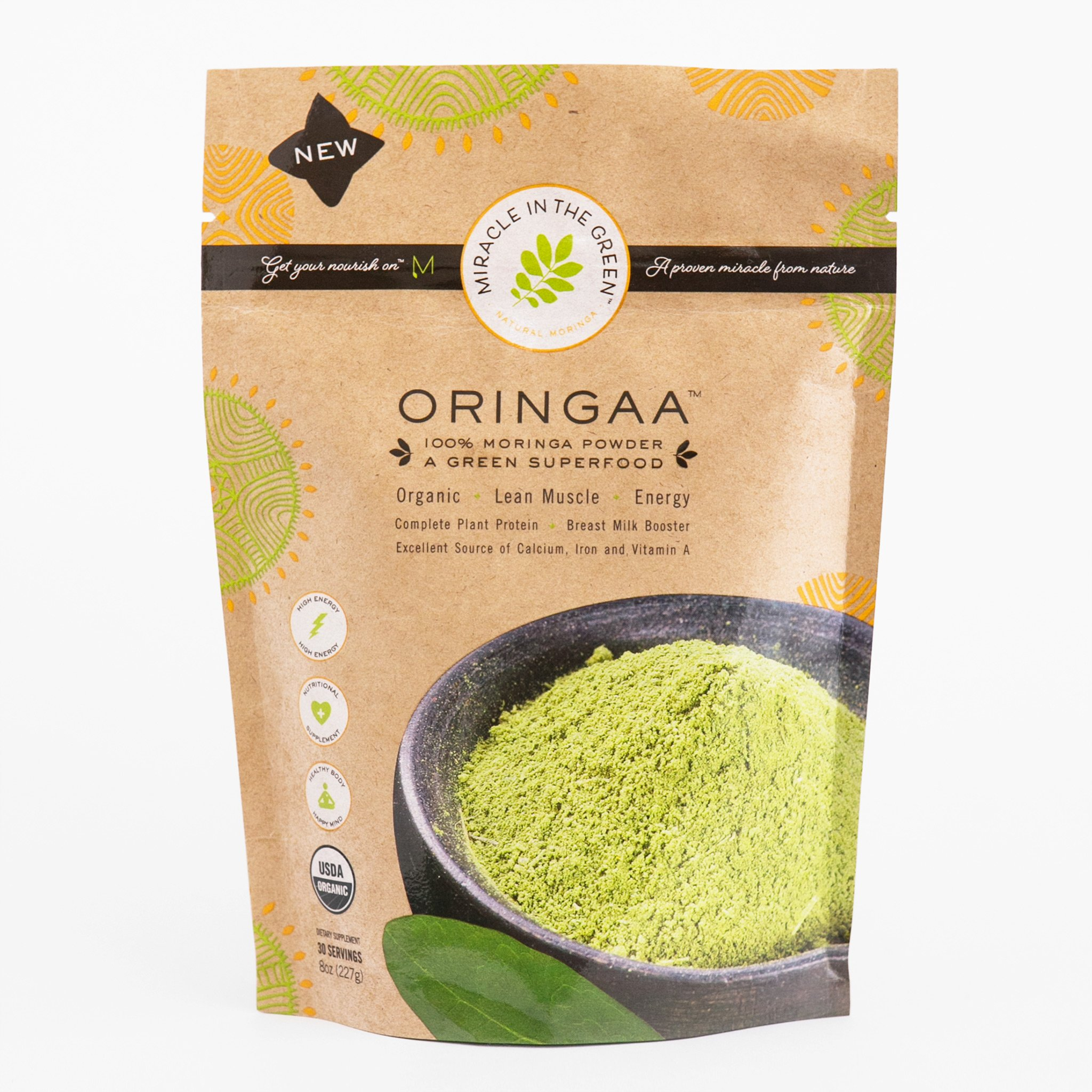 Moringa Powder - Anti-Aging - Gluten-Free - | by Miracle in The Green. USDA Certified Organic. Raw Superfood and Multi-Vitamin. for Green Juice, Smoothies and Food. Gives Energy. 8 oz