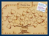 PinPix Decorative pin Cork Bulletin Board Made from Canvas, Grown with Love Lamily Tree Scroll Printed at 35x25 Inches and Framed in Blue Stain on Beech (PinPix-793)