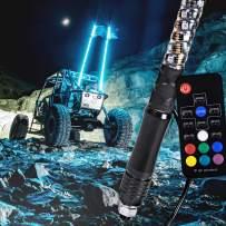 3ft Spiral LED Whip Light for UTV ATV [21 Modes] [20 Colors] [RF Wireless Remote] [Weatherproof] [USA Flag] LED Lighted Whip Antenna for RZR Can-Am Polaris UTV ATV Accessories