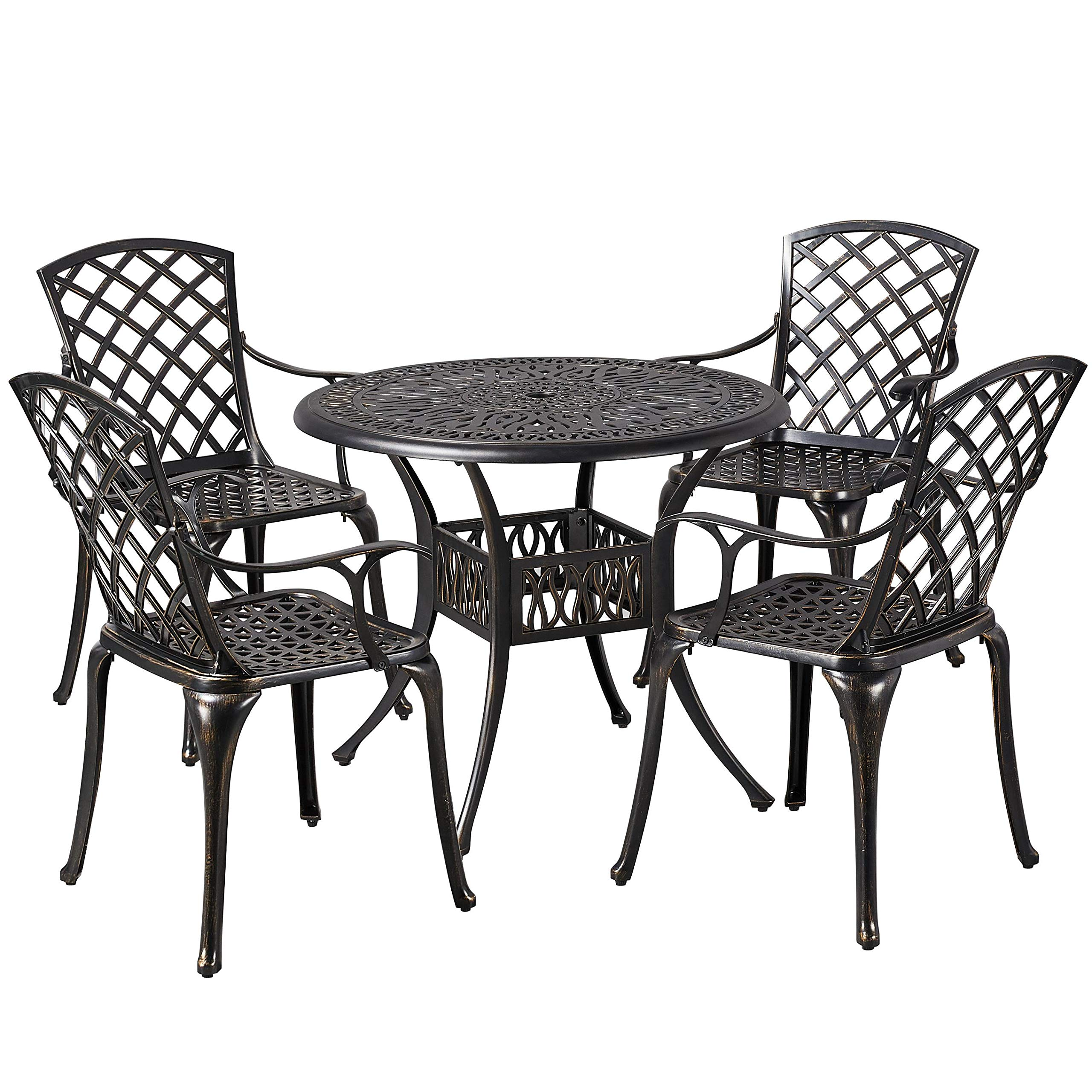 YAHEETECH 5-Piece Outdoor Furniture Dining Set, All-Weather Cast Aluminum Conversation Set for Yard Garden Deck, Includes 4 Chairs and 1 Round Table with Umbrella Hole