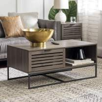 Walker Edison Modern Slatted Wood Rectangle Coffee Table with Drawer Living Room Ottoman Storage Shelf, 42 Inch, Slate Grey