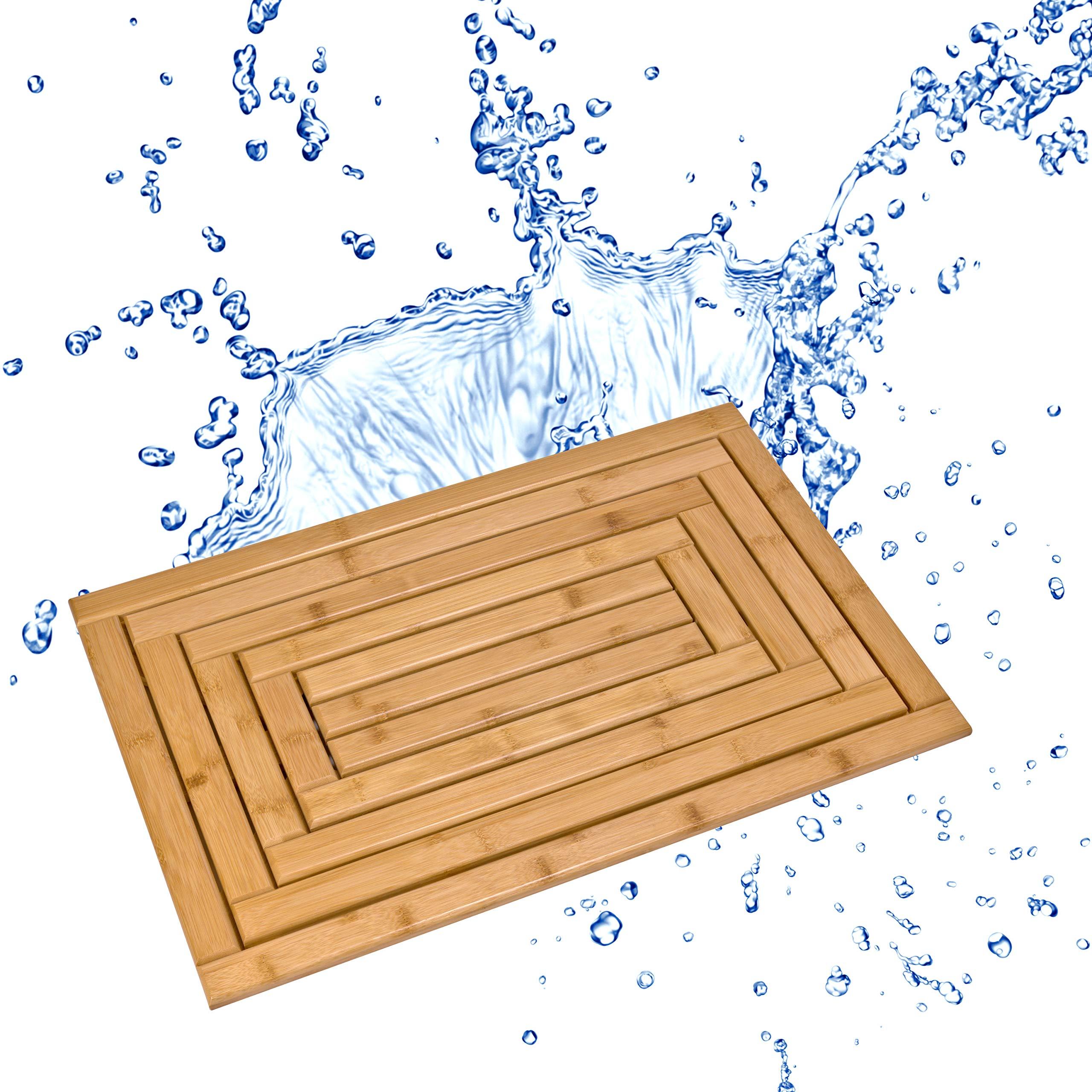 "Bula Home Bamboo Bath Mat | Beautiful, Non Slip Wood Bath Mat | Natural, Eco-Friendly Wooden Bath Mat | Bamboo Shower Mat or Bathroom Floor Mat Perfect for Any Decor… (24"" x 16"")"