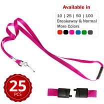 Durably Woven Lanyards with Safety Breakaway ~Premium Quality, Smoothly Finished for Skin-Friendly Comfort~ for Moms, Teachers, Tours, Events, Cruises & More (25 Pack, Pink) by Stationery King