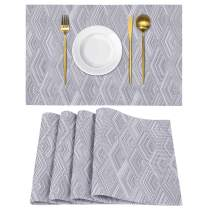Homaxy Placemats for Dining Table Set of 4 - Washable Vinyl Woven Insulation Heat Resistant Kitchen Table Mats, 18 x 12 Inches, Rhombus Grey