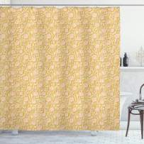 """Ambesonne Shabby Flora Shower Curtain, Romantic Rose Petals with Branches Nature Beauty Valentine Feminine Print, Cloth Fabric Bathroom Decor Set with Hooks, 70"""" Long, Yellow Pink"""